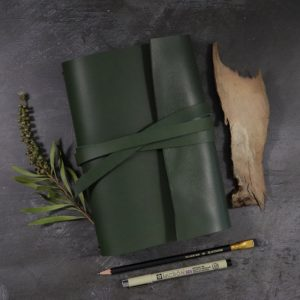 A5 Wrap – Tie Closure in Forest Leather with Notebooks