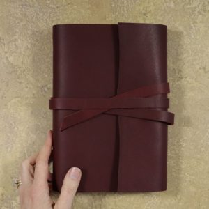 A5 Wrap Leather Journal – Tie Closure in Mahogany Red