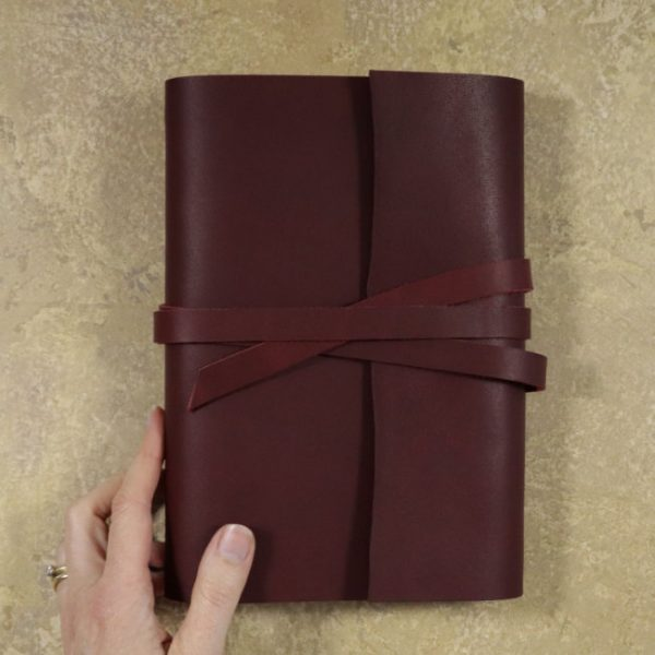 leather wrap notebook cover wrap mahogany hand