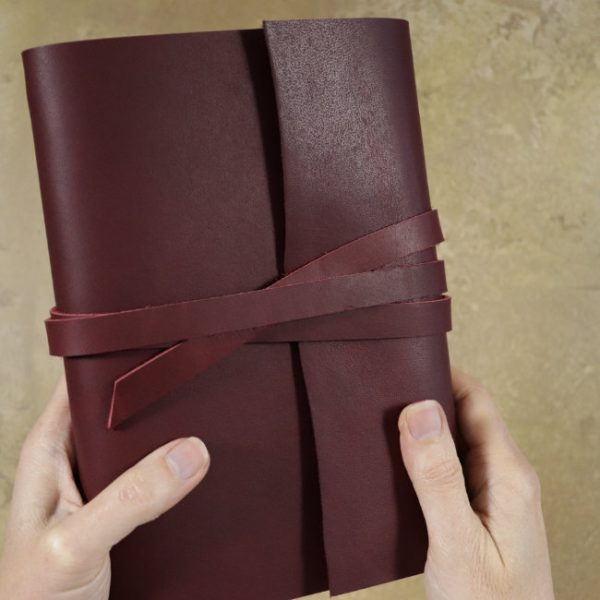 leather wrap notebook cover wrap mahogany held
