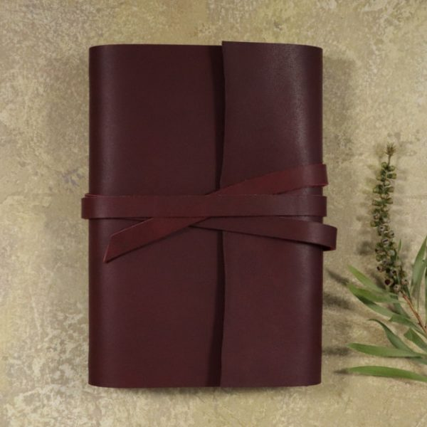 leather wrap notebook cover wrap mahogany insitu