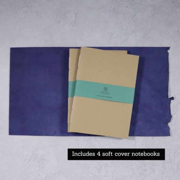 leather wrap notebook cover wrap navy open with 4 notebooks
