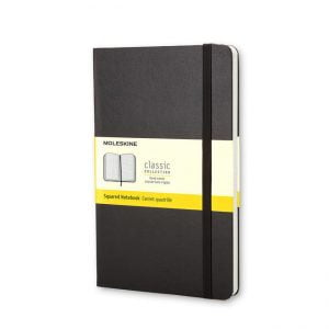 Moleskine Hardcover 240 pg – Square Grid Large Notebook – Black