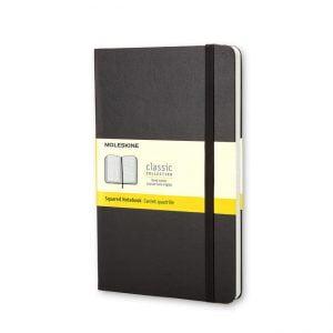 Moleskine Hardcover 240 pg – Square Grid Large Notebook – Black