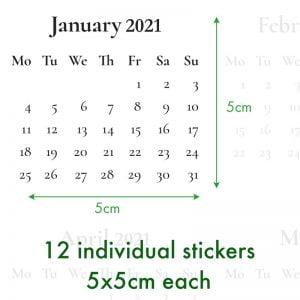 12 Month Calendar Planner Stickers – Black & White Neutral