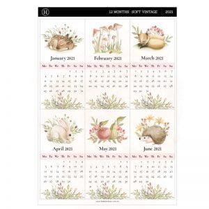 12 Month Calendar Planner Stickers – Soft Vintage