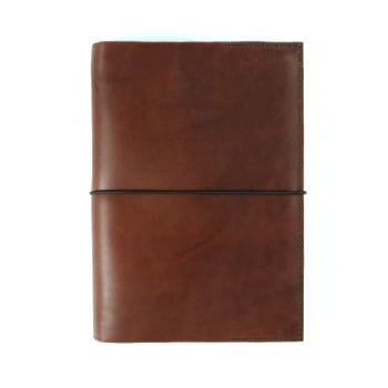 cognac leather stillman and birn hardcover with elastic