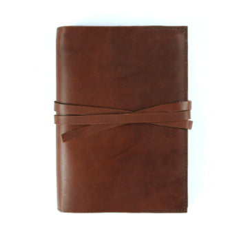 cognac leather stillman and birn hardcover with tie