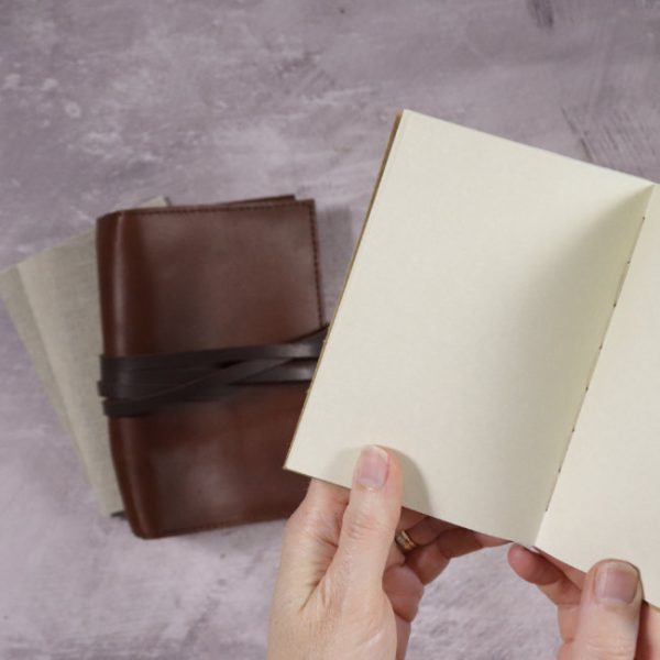 leather travel journal notebooks open