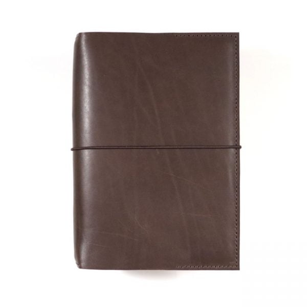 mocha leather stillman and birn hardcover with elastic