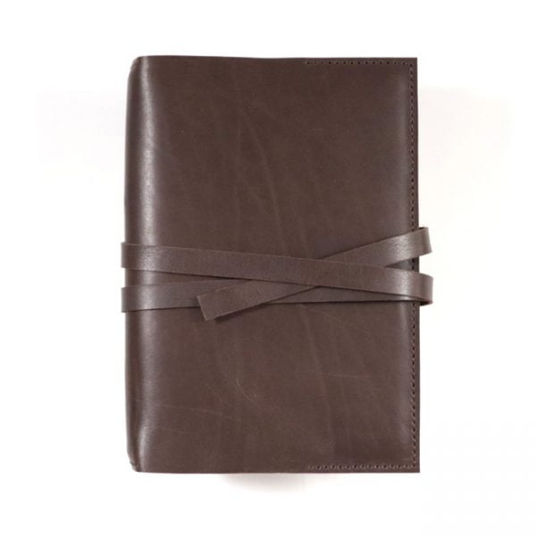 mocha leather stillman and birn hardcover with tie