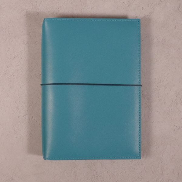 A5 teal blue leather journal with dark teal elastic closure