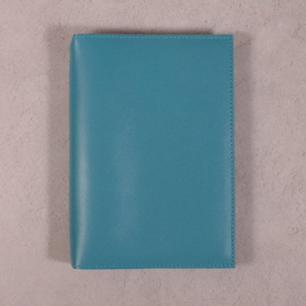 A5 teal blue leather journal with no closure