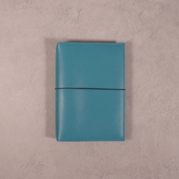 A6 teal blue leather journal with dark teal elastic closure