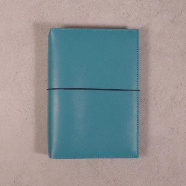 B6 teal blue leather journal with dark teal elastic closure