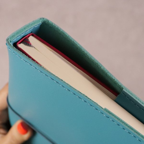 teal blue leather journal detail 1