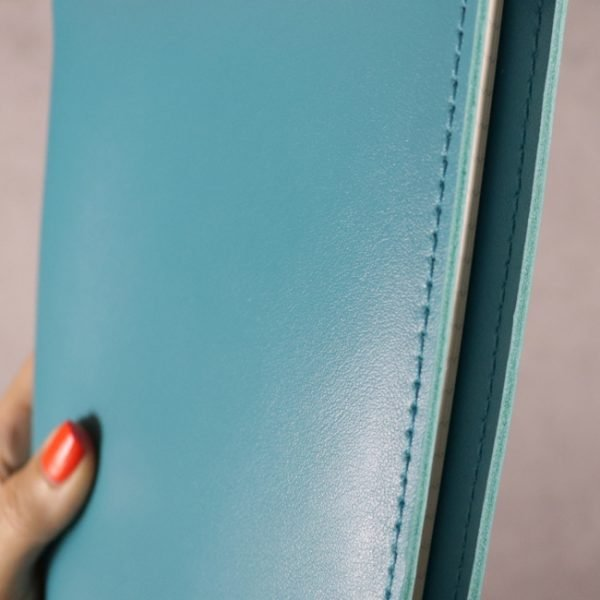 teal blue leather journal detail 2
