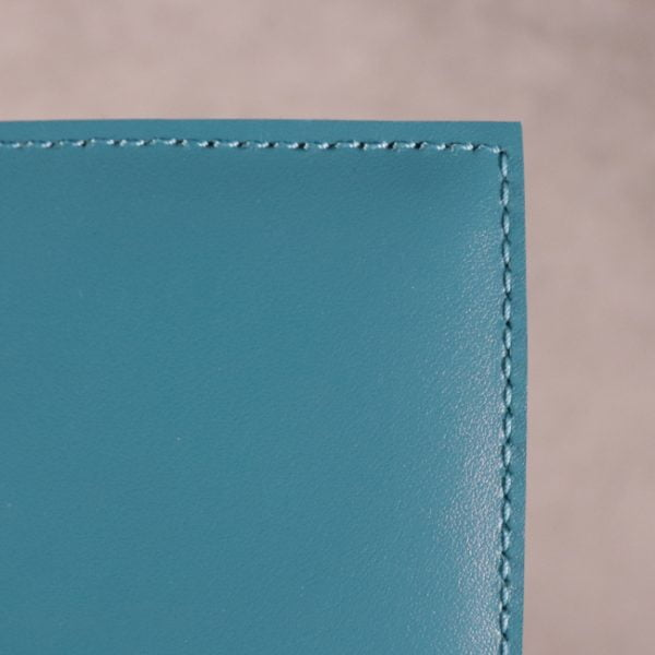 teal blue leather journal detail 3