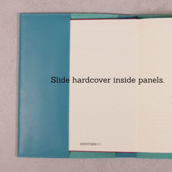 teal blue leather journal panels for hardcover