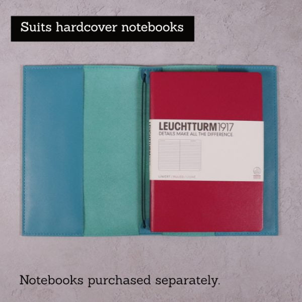teal blue leather journal suits hardcover notebooks