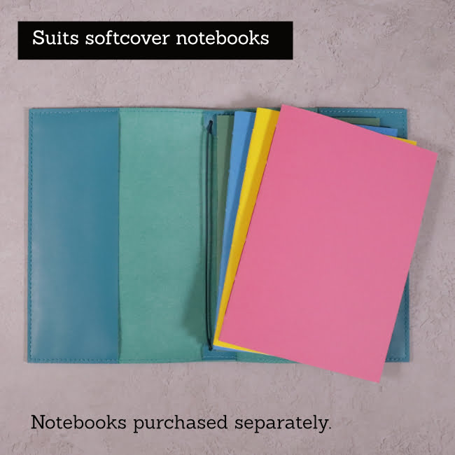teal blue leather journal suits softcover notebooks 1