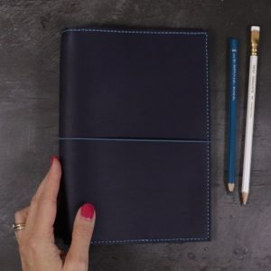A5 – Navy Blue Leather Cover with Teal Blue