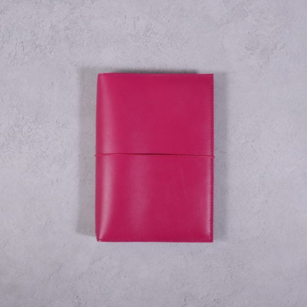A6 fuchsia pink leather journal with fuchsia elastic closure