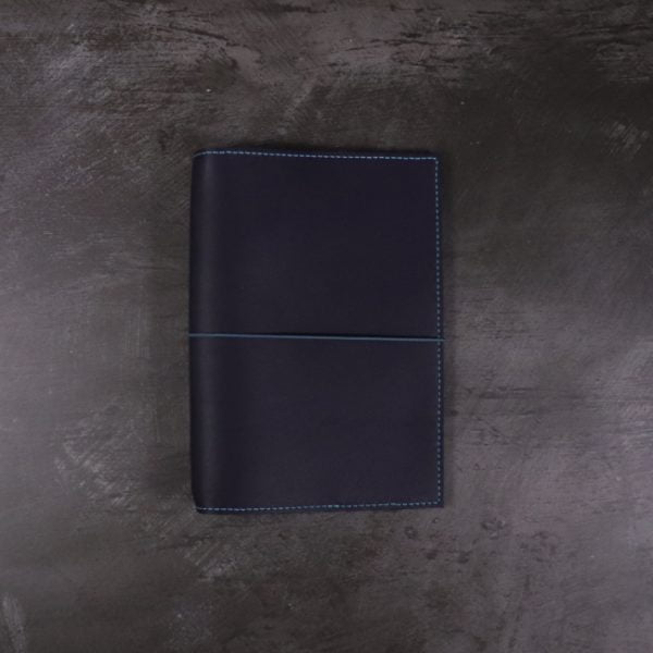 A6 navy and teal leather notebook closed elastic