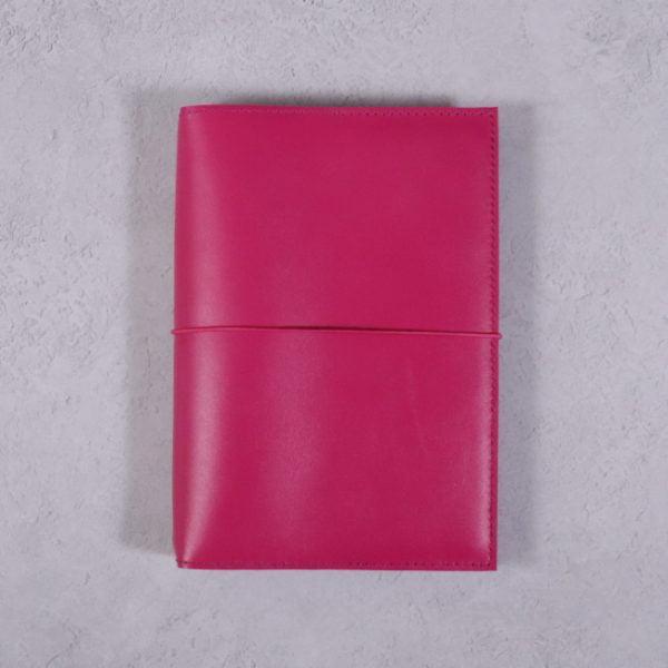 B6 fuchsia pink leather journal with fuchsia elastic closure