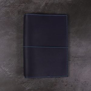B6 – Navy Blue Leather Notebook Cover with Teal Blue