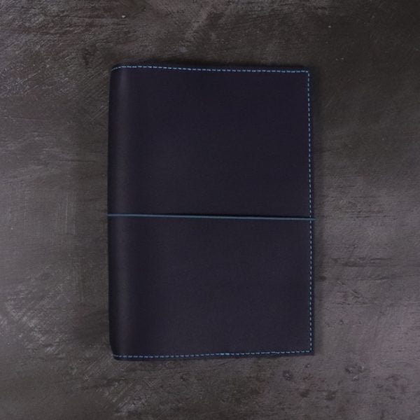 B6 navy and teal leather notebook closed elastic