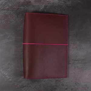 B6 – Dark Red Leather Cover with Fuchsia Pink