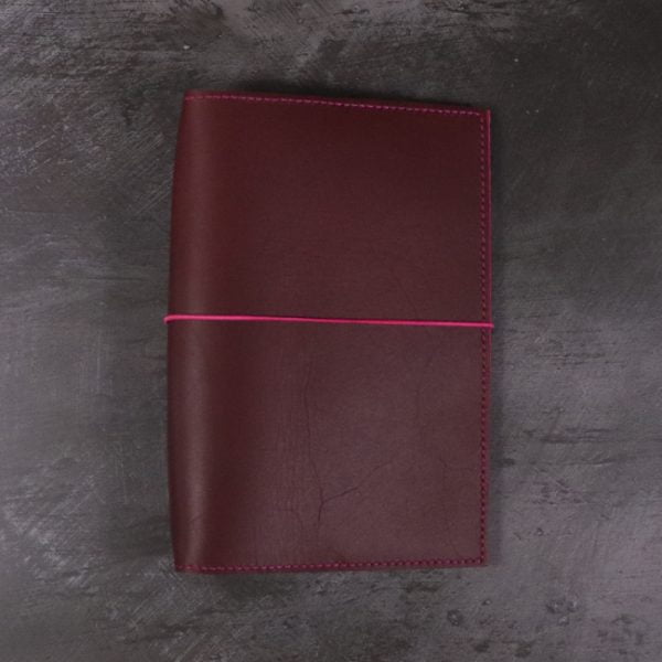 B6 red and fuchsia leather notebook closed elastic