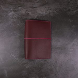 Pocket Size – Dark Red Leather Cover with Fuchsia Pink