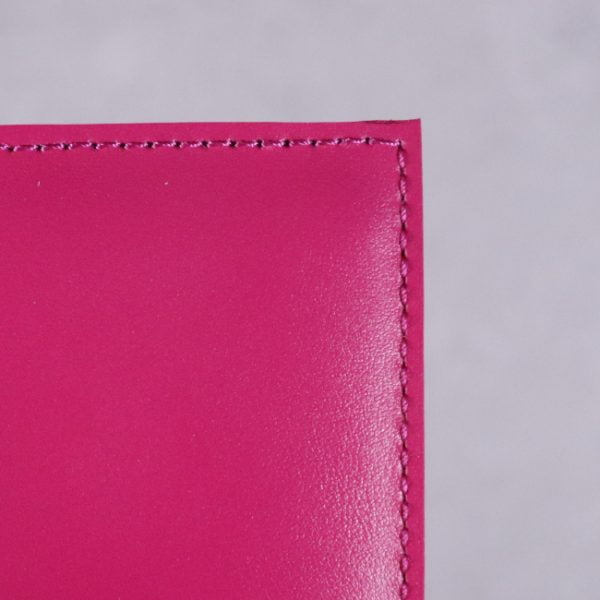 fuchsia pink leather journal detail 1