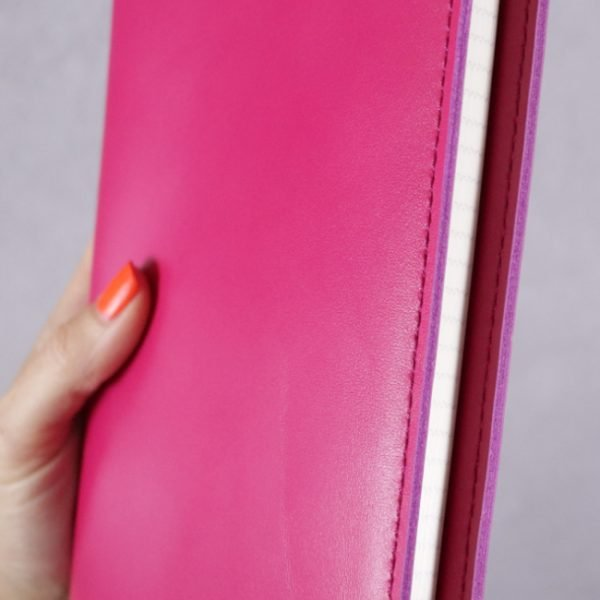 fuchsia pink leather journal detail 2