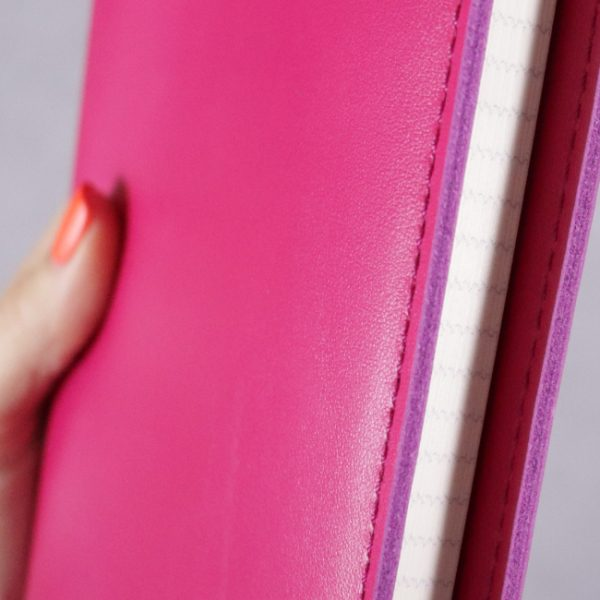 fuchsia pink leather journal detail 3