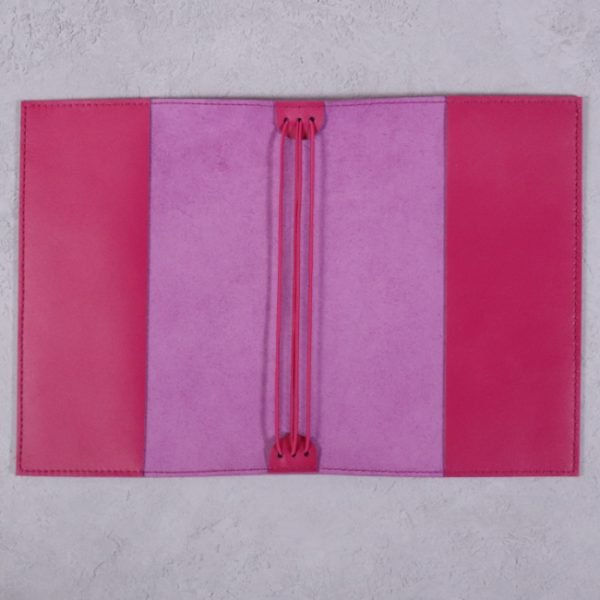 fuchsia pink leather journal open
