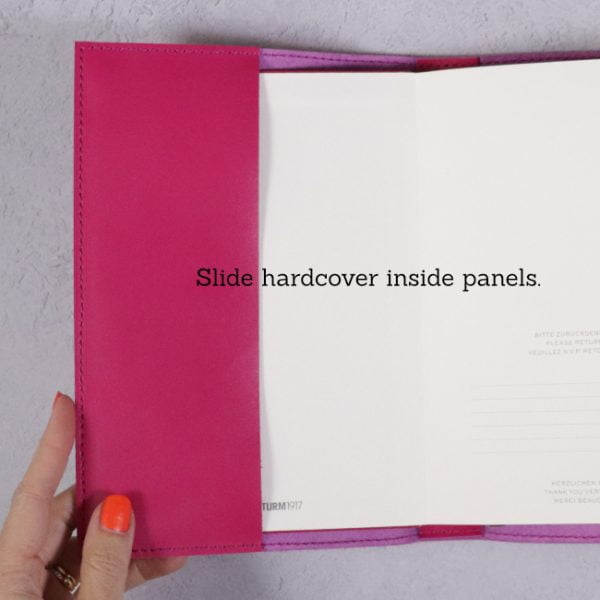 fuchsia pink leather journal panels for hardcover