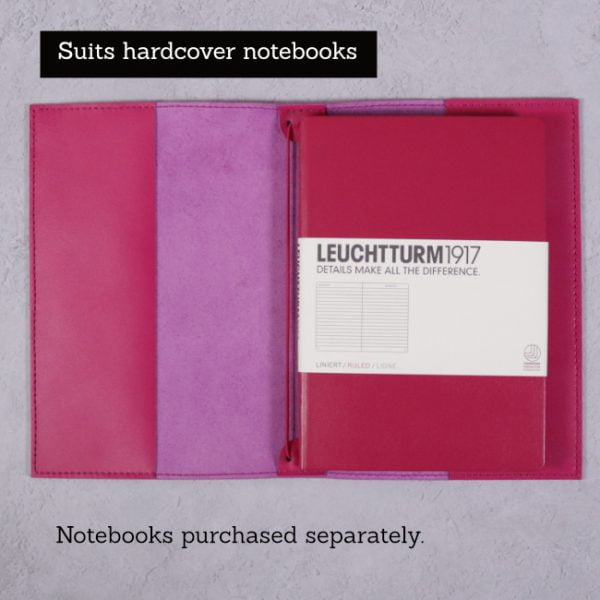 fuchsia pink leather journal suits hardcover notebooks