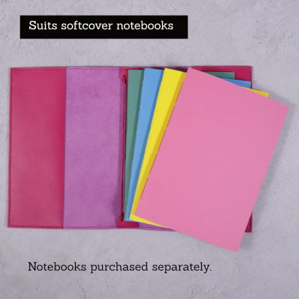 fuchsia pink leather journal suits softcover notebooks 1
