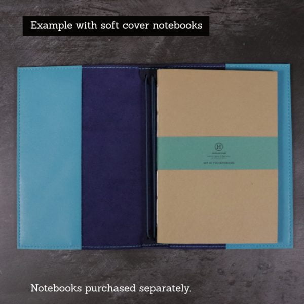 navy and teal leather cover soft notebooks