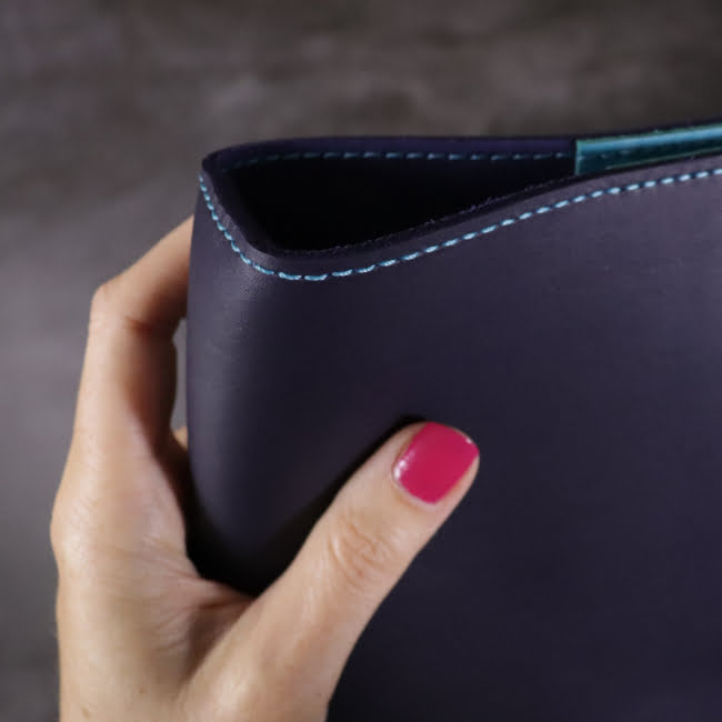navy and teal leather notebook detail 1