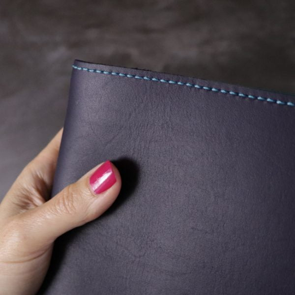 navy and teal leather notebook detail 1b