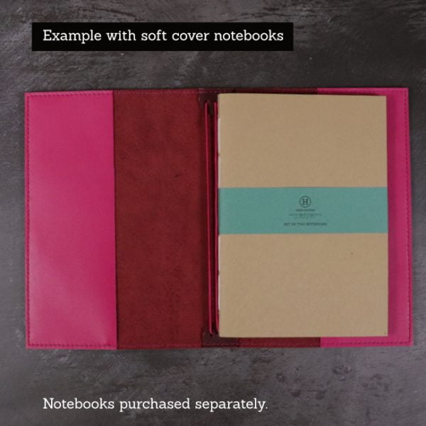 red and fuchsia leather cover soft notebooks