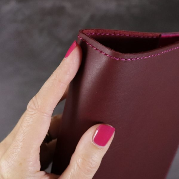red and fuchsia leather notebook detail 1