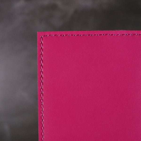 red and fuchsia leather notebook detail 2