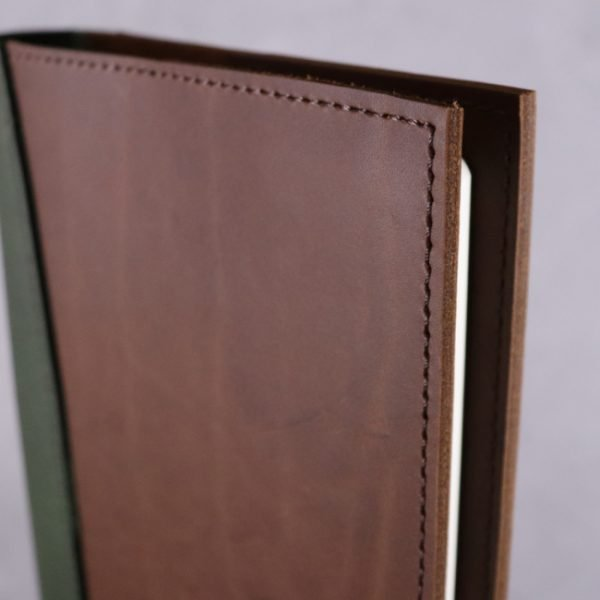 A5 leather journal library green cognac detail 1