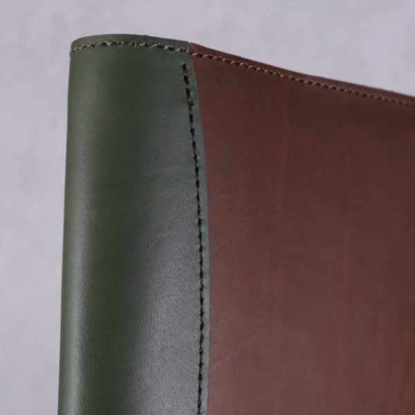 A5 leather journal library green cognac detail 2