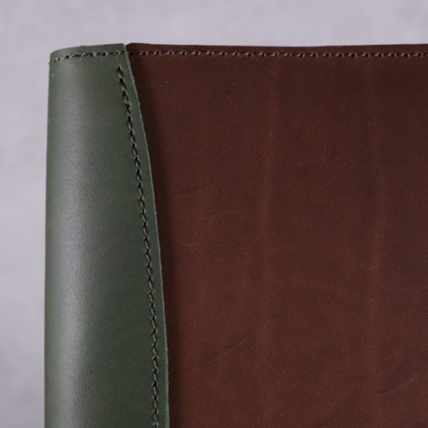 A5 leather journal library green cognac detail 3
